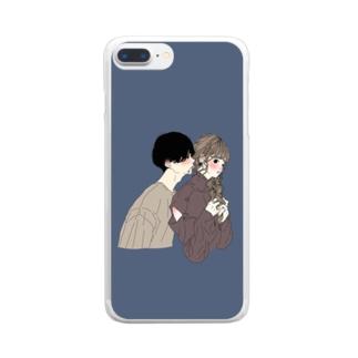 カップルスマホケース ネイビー Clear smartphone cases