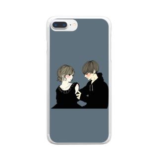 カップルスマホケース くすみグリーン Clear smartphone cases