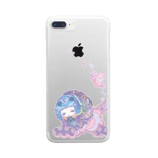 パープルこけし Clear smartphone cases