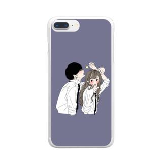 カップルスマホケース くすみネイビー Clear smartphone cases