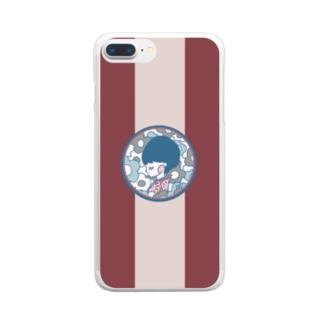 花春(紅) Clear smartphone cases
