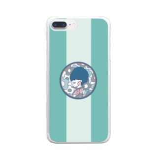 花春(緑) Clear smartphone cases