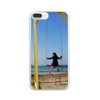 成美とブランコと海 Clear smartphone cases