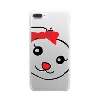 うさちゃんのお顔 Clear smartphone cases