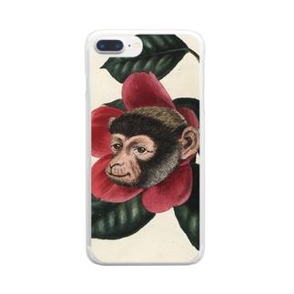 絶滅危惧種の猿とツバキ Clear smartphone cases