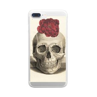 椿とスカル Clear smartphone cases
