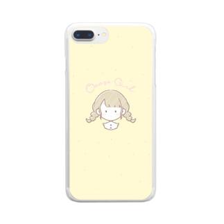おさげの女の子のスマホケース Clear smartphone cases