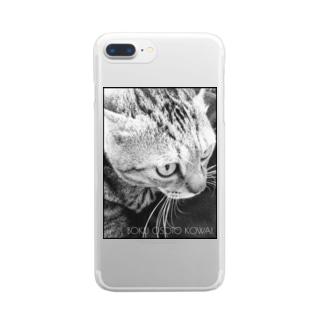BOKU OSOTO KOWAI(黒枠) Clear smartphone cases