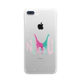 きりんさんはねむい(色違い) Clear smartphone cases