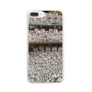 招き猫 Clear smartphone cases