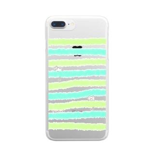 にゃーちゃ、茶畑ボーダー Clear smartphone cases