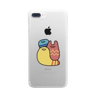 カラフルな謎の生き物3人 Clear smartphone cases