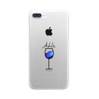 大人ワイングラス Clear smartphone cases