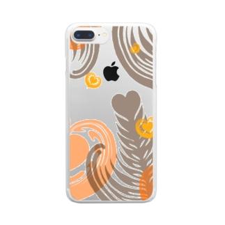【ラテアート】レイヤーラテアート/オレンジブラウン Clear smartphone cases