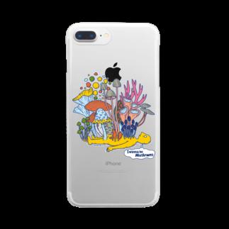cementmilk WEBショップのI wanna be mushrooms Clear smartphone cases