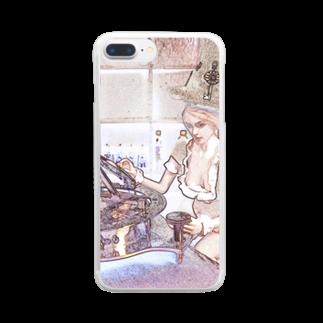 FUCHSGOLDのCG絵画:時間を操るメイド服の魔女 CG art: Witch with sundial Clear smartphone cases