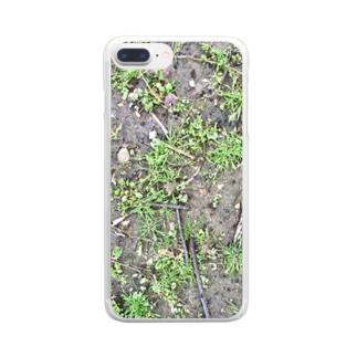 イエネコの植物 雑草と地面 Clear smartphone cases