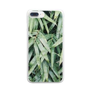イエネコの植物 笹 Clear smartphone cases
