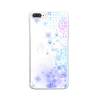orange_honeyのあじさいと水滴3 Clear smartphone cases