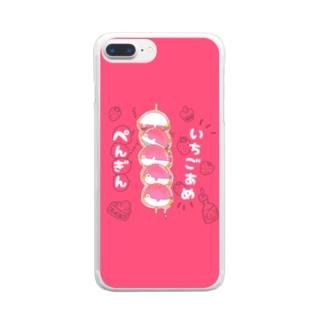 Mutsuのイチゴ飴ぺんぎん Clear smartphone cases