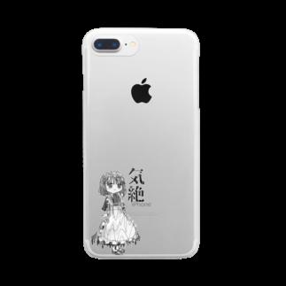 本とメイドの店 気絶のメイドちゃんモノクロ雑貨(ワヲ゛ンケ) Clear smartphone cases