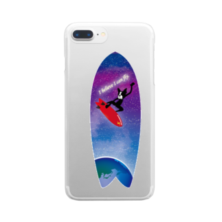 Hilo Diego Design Shopのボストンテリア サーフ I Believe I can fly Clear smartphone cases