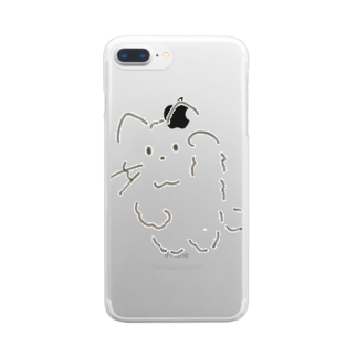 casita のモフモフまねきねこ Clear smartphone cases