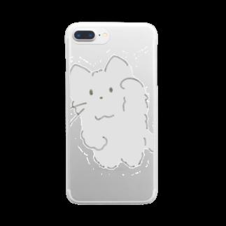 casita のモフモフまねきねこ グレー Clear smartphone cases