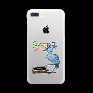レコードの巣のハシビロコウ☆レコードプレイヤー Clear smartphone cases