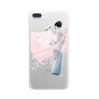 さくら吹雪 Clear smartphone cases