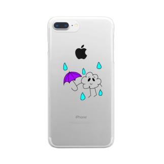 雲くん☔色つきver Clear smartphone cases