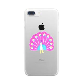 クジャク 桃羽 Clear smartphone cases