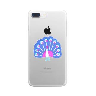クジャク 青羽 Clear smartphone cases