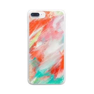 草原にみる光 Clear smartphone cases