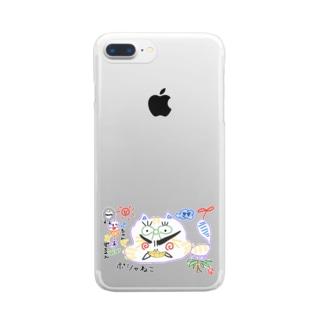 ぽしゃ猫グッズ Clear smartphone cases
