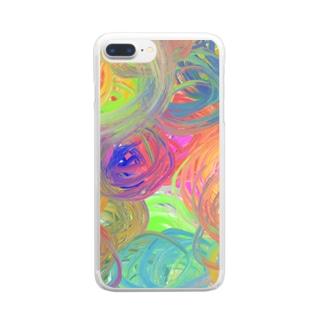 ぐるぐる油絵 Clear smartphone cases