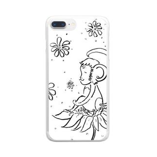 幸せの花とさる Clear smartphone cases