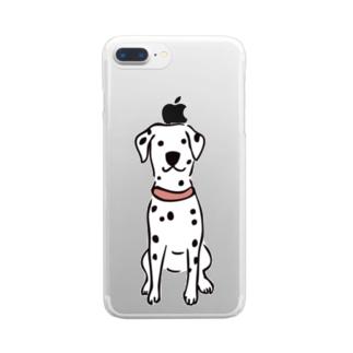 おすわりダルメシアン Clear smartphone cases