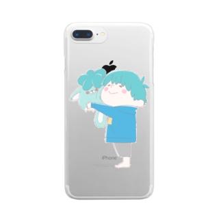 じんねこぬいぐるみ 淡い色ver Clear smartphone cases