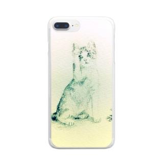 猫の小さな絵 Clear smartphone cases