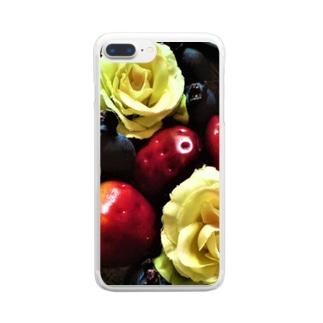 いちごとばらとブルーベリー Clear smartphone cases