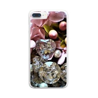 クリスタルとアジサイと真珠 Clear smartphone cases