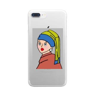 恋するあの子 (フェルメール 真珠の耳飾りの少女) Clear smartphone cases
