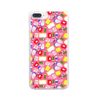ぶんぼうぐ(ぴんく) Clear smartphone cases