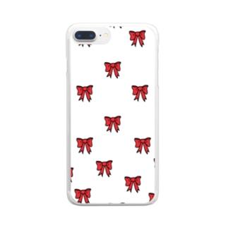 リボン柄 Clear smartphone cases