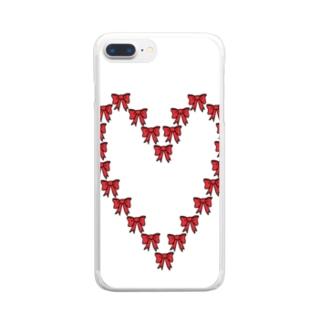 ハートのリボン Clear smartphone cases