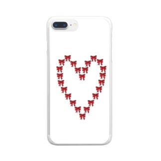 ハート型のリボン Clear smartphone cases