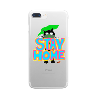 BIONICMILLのSTAY HOME CAT Clear smartphone cases