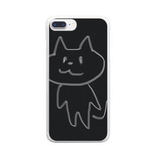 直立歩行する猫 Clear smartphone cases