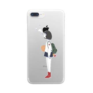 しゃけ丸のエビフライもってる女の子ver.つー Clear smartphone cases
